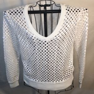 Size Large White sequined Juicy Couture Blouse!